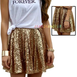 Women's explosion models 2020 European and American fashion sexy gold sequins high-end skirt pleated skirt