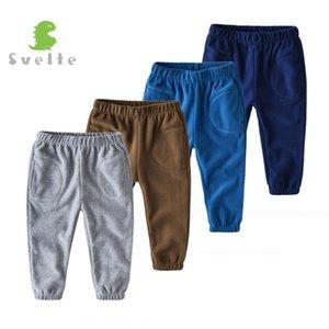 Thick velo Pant de SVELTE 2-7 Yrs Menino com 2 Bolsos para Outono Inverno Chlidren Casual Sólidos Calças Crianças Joggers Sweatpants T200103