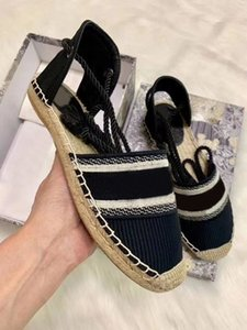 2020 best selling top designer shoes fashion embroidery canvas straw woven fisherman sandals tethered thick bottom banquet shoes size 35-41