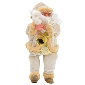 New-Goods Sitting Santa Claus Doll Home Furnishing Christmas Gift Flannel Toys Xmas Table Decor Decorations Creamy-White