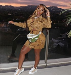 İki parçalı elbise gömlek bluz + mini etek gündelik elbise takım elbise moda mektup yazdırma kadın giyim klw2596 womens