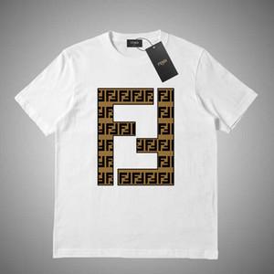 FENDI Erkek Kadın Gevşek Tişörtlü Kontrast Patchwork Tees Mektupları Casual Erkek Gömlek Moda Erkekler Üst Gömlek Tee Boyut S-2XL # 45481 yazdır