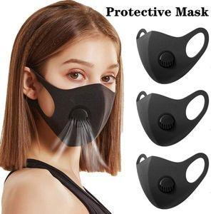 Schwarz Anti Staubmaske mit Ventil PM2.5 Atemfilter Schutz Gesicht Mund Baumwolle Masken Respirator Waschbar Wiederverwendbare Anti-Fog Haze Adult