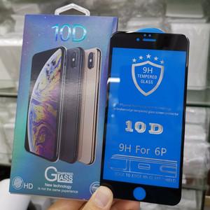 Venta de la tapa 10D Aluminio de alta calidad Anti-huella digital de la pantalla de cristal templado protector de la pantalla completa de la película del protector para el iPhone 11 Pro Max XR X