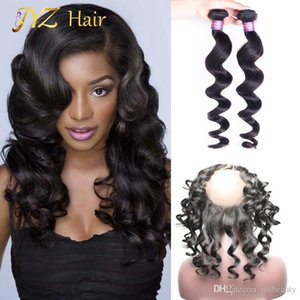 JYZ Brazilian Loose Wave With Closure 2 Bundles Loose Wave 360 Lace Frontal With Bundle Curly Weave Human Hair 360 Frontal With Hair