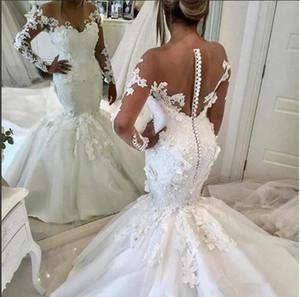 Mangas largas Apliques de encaje Vestidos de novia de sirena Vestido de novia con flores en 3D Adornado con cuentas Ilusión Robe De Marriage Modest Wedding Wear