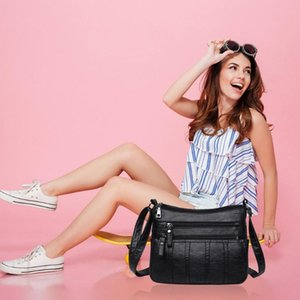 New Fashion Women Crossbody Bag Black Soft Washed Leather Shoulder Bag Patchwork Messenger bags for women
