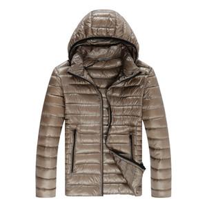 Tasarımcı Kalın Erkek Aşağı Dolgulu Coat Kış Moda Sıcak Katı Renk Parkas Casual Fermuar Gevşek Kapşonlu Erkek Aşağı