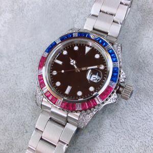 Movimento automatico di alta qualità U1 40 millimetri uomini della vigilanza di caso Candy Black Diamond Dial 316 inossidabile Banda Maschio Clock Montre Homme