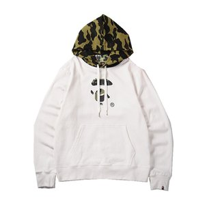 Осень Зима Новое прибытие Подросток Черный Белый Hat Camo SPLICE плюс бархат свитер мужской Casual Sport Hip Hop пуловер с капюшоном толстовки