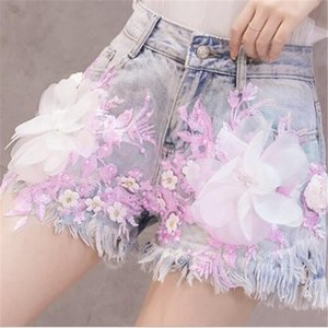 Promotion 2020 New Classic Flower Denim Shorts Female Clothing Three-dimensional Floral High Waist Hole Casual Fashion Shorts