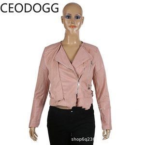 Ceodogg Весна Мода Офис Леди 3 Цвет Кожаная Куртка Женщины Отложной Воротник Диагональная Молния Дизайн С Длинным Рукавом Casaco Slim