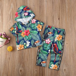 Summer Kids Baby Girl Clothes Short Sleeve Hooded Tops Long Pants Leaf Outfits Green Sports Tracksuit Set