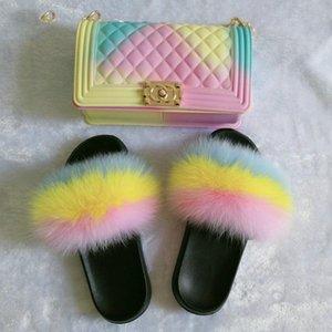 2020 yeni Yaz Kürk Bayan Sandalet Terlik Jelly Çanta Ayakkabı Moda Bayan 2020 Kürk Sandal Terlik Sevimli Pofuduk Slaytlar Kadınlar Setleri