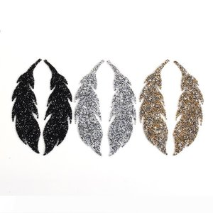 B Leaf Feather Crystal Rhinestone Patch Iron on Patches for Clothing Heat Transfer for T-shirt Badges Applications DIY Appliques G
