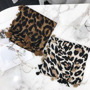2018 Mulheres Marca de Moda Leopardo Dot Tassel Viscose Xale Cachecol Impressão Macio Envoltório Pashminas Sjaal Hijab Muçulmano Baixada 180 * 100 Cm