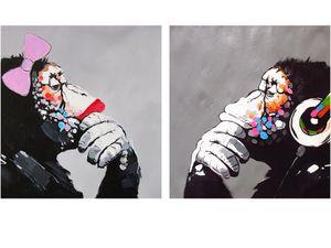 2 шт Бэнкси Street Art леди девушка и DJ MONKEY Home Decor расписанную HD Печать Картина маслом на холсте Wall Art Canvas картинки 200217