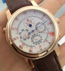TOP haute qualité Mens montres automatique à six aiguilles Bracelet en cuir Ciel mécanique Sports Business Lune P-P Mens Watch Man Wristwatch