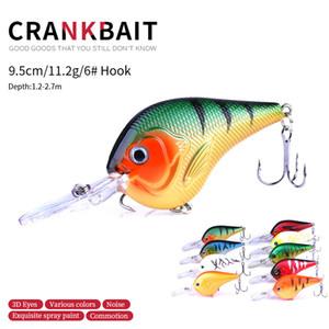 HENGJIA 9шт рыболовные приманки CRANKBAITS HOOK BASS Crank приманки 9.5CM 11.2G 6 # крючки 95мм Твердые приманки Minnow карп Рыболовные снасти CB024