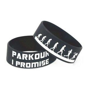 Spor Yetişkin Boyut 1 için LUKENI 1PC Sıcak Satış Parkour ben Promise Silikon Bileklik Siyah Beyaz Mavi BraceletsBangles