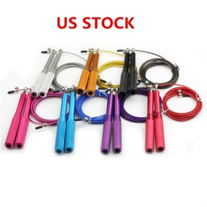 US Stock Colorful Speed Jump Rope Skipping Rope Adjustable Steel Gym Jump Speed Lose Weight Gymnastics Fitness FY7051