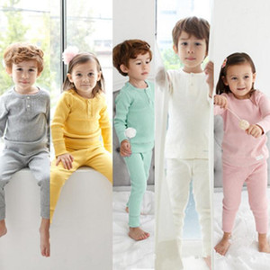 Kids Clothing Sets Pure Color Top+Stomach Protection High Waist Pants 2 pcs Baby Kids Pajamas Set Baby Girls Pyjamas