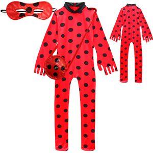 Teenmiro Cosplay Uğurböceği Kızlar Kostüm Fantasia Çocuk Yetişkin Lady Bug Giyim Çocuk Spandex Jumpsuit Fantezi Cadılar Bayramı Kırmızı Siyah bodysuit