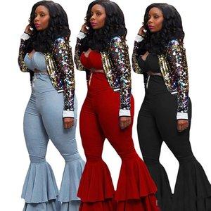 Donna Jeans + reggiseno sportivo Denim Bootcut Pant 2 piece set Outfits Vest Bassiera Campana pantaloni della tuta Autunno Estate Autunno abbigliamento