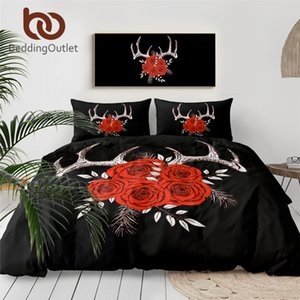 BeddingOutlet Antlers Bedding Set Red Roses copripiumino floreale Hipster Tessuti domestici Vintage Gotico Biancheria da 3 pezzi