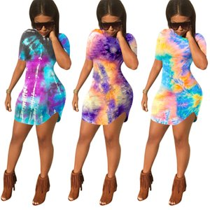 Home Wear Women's O-Neck Dresses Fashionable Lady's Skinny Bodycon Tie-Dye Printed Short Sleeve Mini Dress 2020 Summer New Arrivals