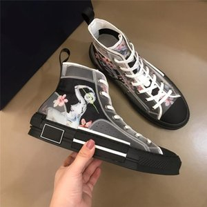 19SS new Flowers Technical Canvas B23 B24 High Top Sneakers in Oblique Mens Brand B23 Designer Shoes mens and Womens Fashion Sneakers