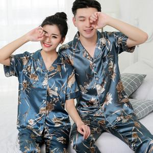 Trendy Flora Baskılı Unisex Pijama Moda Buz Ipek Erkek Kadın Pijama Set Doğum Günü Hediyesi Çift Marka Gecelik Için