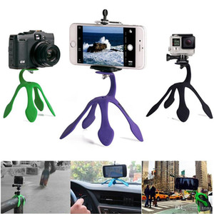 Portable Universal Flexible Gecko Mini Trépied Support voiture multi fonction téléphone Caméra Support à Octopus SPIDER pour tous les téléphones Android