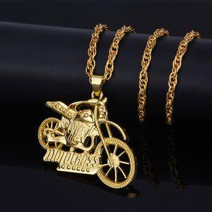 Collar pendiente de la joyería de la vendimia de Hip Hop Punk gótico de acero motocicleta moto exceso de velocidad de la motocicleta