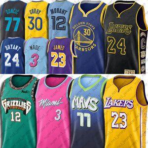 Ja Morant Jersey LeBron James 23 jerseys 3 Dwyane Wade 77 Luka Doncic Jersey Bryant Stephen Curry 30 grisáceos de calor guerreros Mavericks