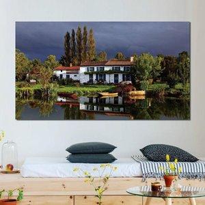 cottage house sky grass trees Poster Stampa foto muro per arredamento ingresso