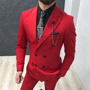 Red Double Breasted Man Suits for Prom Party Stage 2019 2 Piece Custom Slim Fit Man Fashion Suit Jacket Pants Wedding Tuxedos