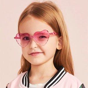 Moda Çerçevesiz Çocuk Güneş Aşk Kalp Okyanus Kız Erkek Bebek Güneş Gözlüğü Çocuk Gradyan Güneş Gözlükleri UV400