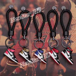 Модные кожаные брелки A / J модель брелки мини 3D силиконовые кроссовки обувь брелок Шарм сумка декор брелок любителей подарок автомобиль брелок