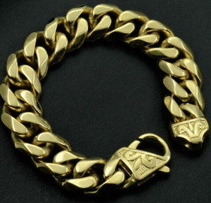 Cool Top Quality Gold Plated Mens Stainless Steel Curb Cuba Bracelet B154
