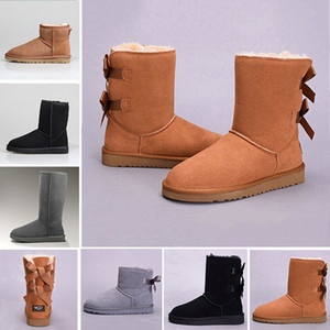 2019 Snow Winter Leather Women Australia Classic kneel half Boots Ankle boots Black Grey chestnut navy blue red Womens girl shoes3a81#