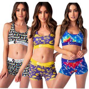Fashion Women Ethika Swimsuit Beachwear Cartoon Shark Print Vest Bra + Swim Shorts Two Piece Set Swimming Suit Swimwear Bikini 2020 INS