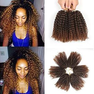 Marlybob Crochet cheveux 3pcs / set 8inch Afro Kinky Curl cheveux synthétiques Tressage Jerry Extensions de cheveux bouclés