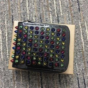 In Fashion couro com zíper quadrado rebite mudança carteira multi-funcional set cartão de identificação de notas tendência rock progressivo retro homens e mulheres casuais