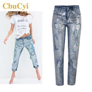 CbuCyi Mulheres da Moda de Nova roupas soltas Hetero Jeans lantejoulas Lavados Buracos Denim Calças ocasionais das mulheres de algodão calças jeans