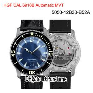Yeni HGF Elli Kulaç Grande Date 5050-12B30-B52A Siyah Titanyum Cal.6918B Otomatik Erkek İzle Mavi Yelken-kanvas Kayış Puretime BP01b2 Dial