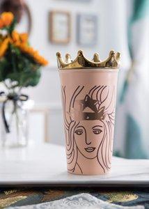 Nova Sereia Starbucks Rose Gold Coroa Rosa copo de café Dupla Isolamento de cerâmica Caneca Que Acompanha copo para fora dooor no carro caneca 355 ML