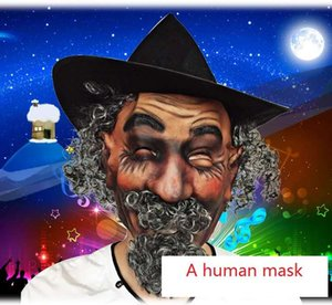 Spoof, Halloween, simulation of the elderly men, including wigs, hats, masks, facial hair, this mask is an adult mask, mask size can be adju
