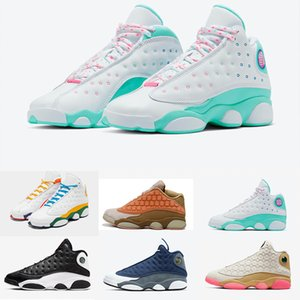 WITH BOX PLAYGROUND 13 13s CNY ISLAND GREEN AURORA GREEN Cap And Gown men basketball shoes Atmosphere Grey PLAYOFFS women Basketball Shoes