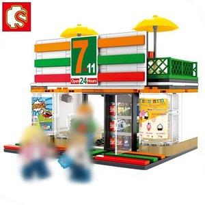 Sembo Straße Mini Lebensmittel Shopping Mall Coffee Store Freunde Architektur Einzelhandel Geschäft Ansicht Modell Set Baustein-Spielzeug